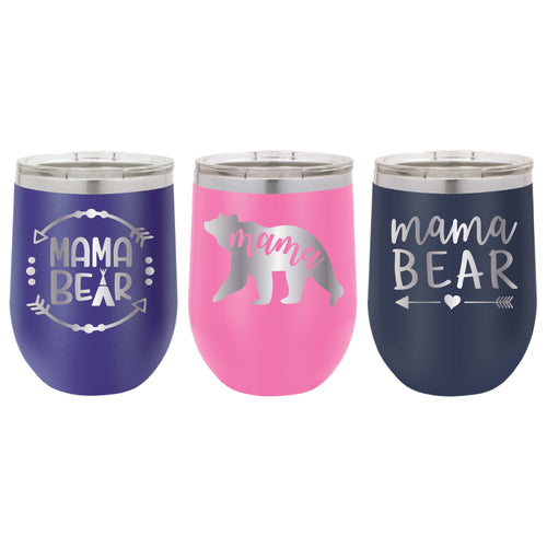 Personalized Mother Tumbler - 12 oz Stainless Steel Wine Tumbler - Vacuum Insulated