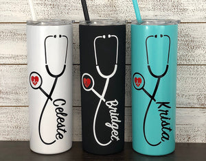 Personalized Nurse Stethoscope Design on 20 oz Tumbler - Vinyl Decal