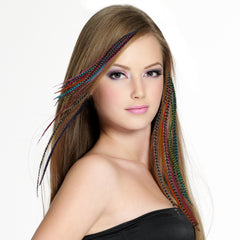 Hair Flairs Hair Feather Extensions model