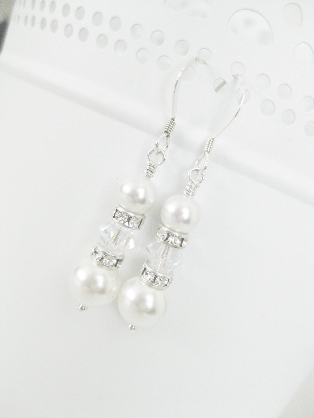 Pearl Bridal Earrings Swarovski Wedding Jewelry - Clairesbridal