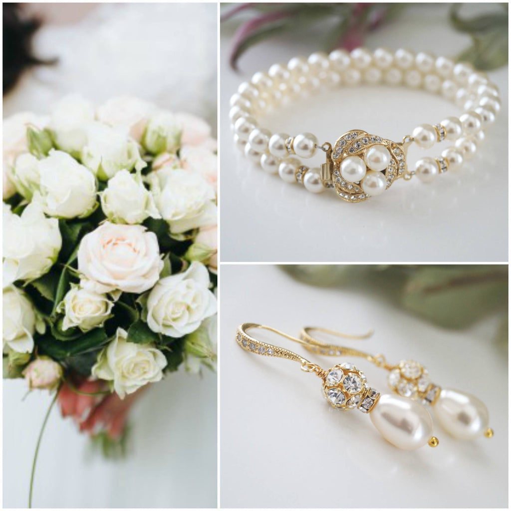 Gold Pearl Bracelet and Earrings Bridal Jewelry Set - Clairesbridal - 1