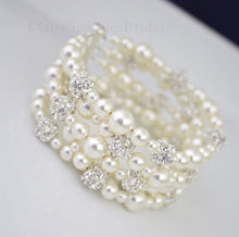 Load image into Gallery viewer, 5 strand pearl cuff bracelet wedding jewelry - Clairesbridal - 1