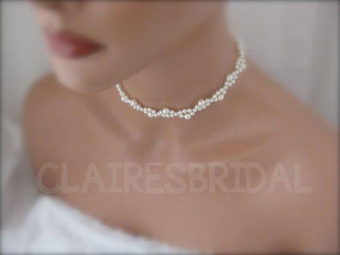 Pearl wedding choker necklace bridal jewelry - Clairesbridal - 1