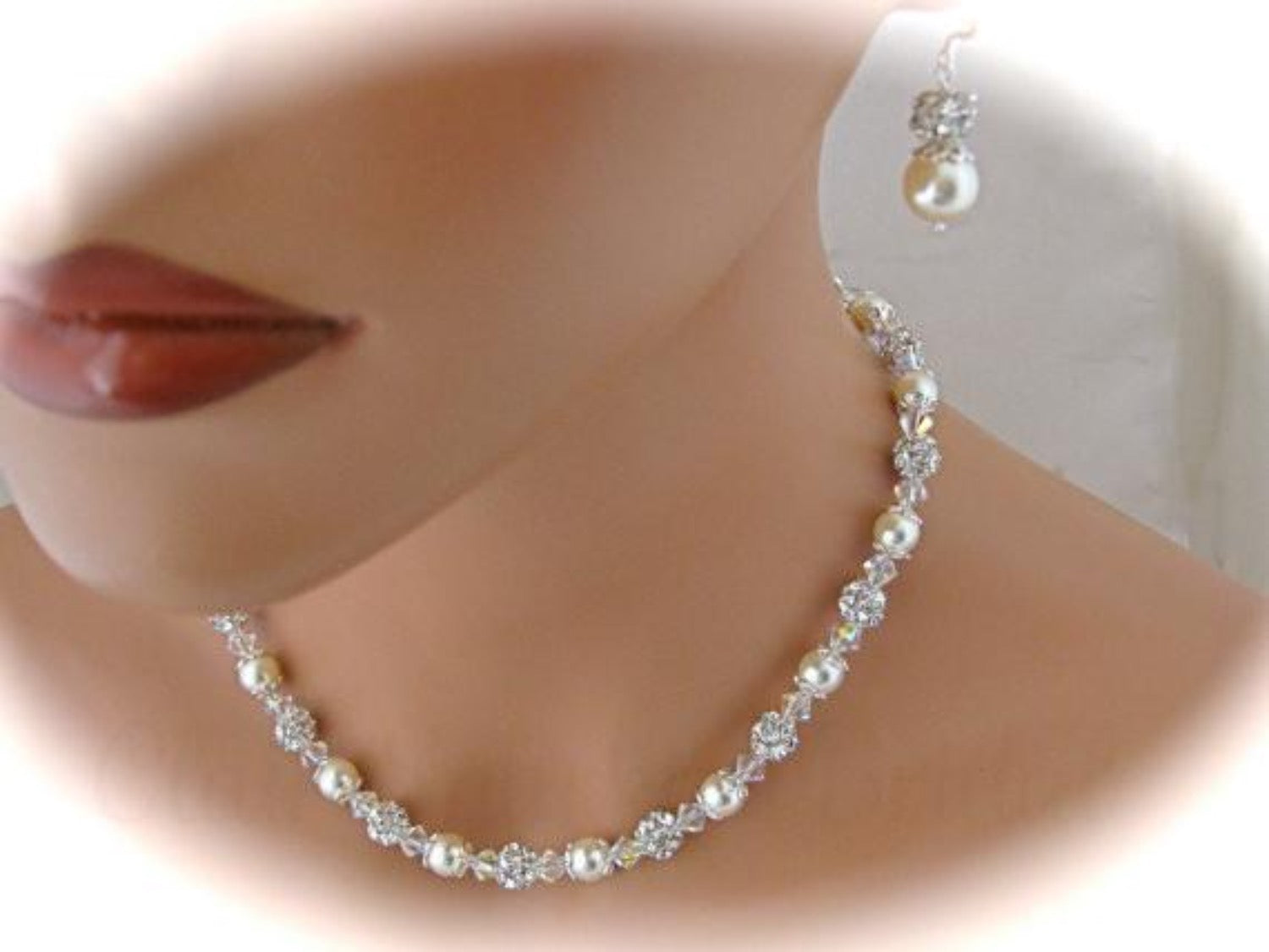 Wedding Jewelry Set Swarovski Pearl and Crystal Necklace and Earrings - Clairesbridal - 4