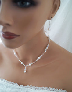Pearl Wedding Necklace and Earrings Set Wedding Jewelry - Clairesbridal - 4