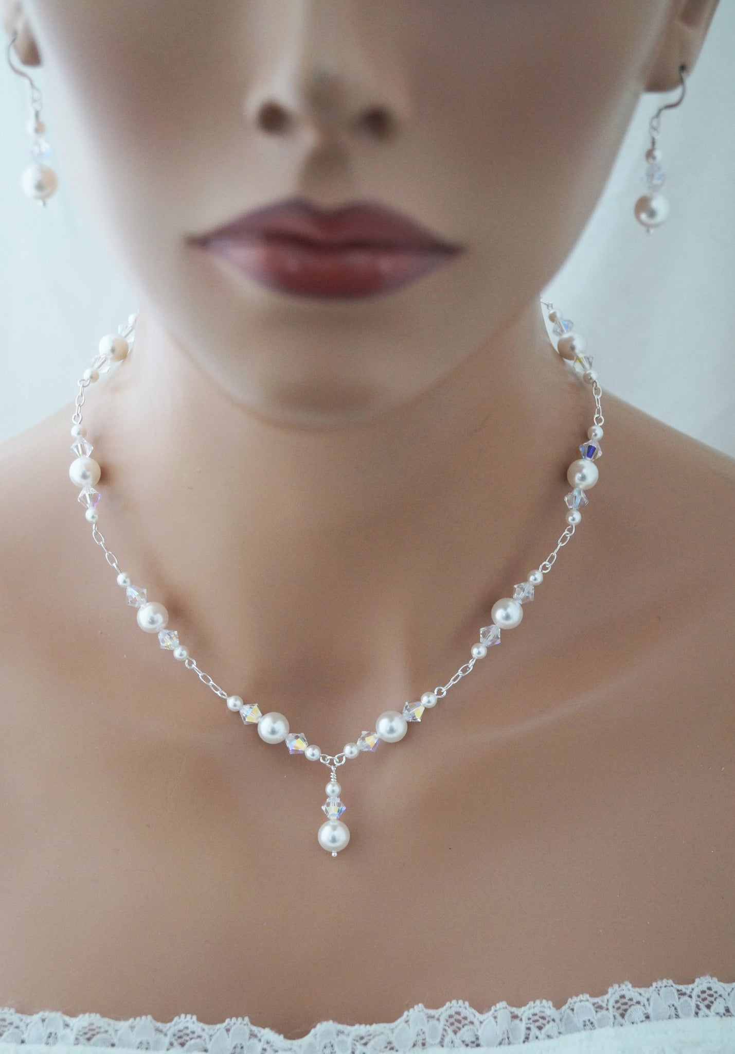 Pearl Wedding Necklace and Earrings Set Wedding Jewelry - Clairesbridal - 5