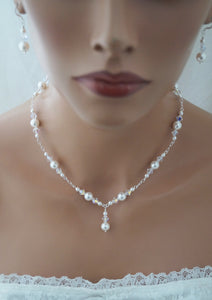 Pearl Wedding Necklace and Earrings Set Wedding Jewelry - Clairesbridal - 6