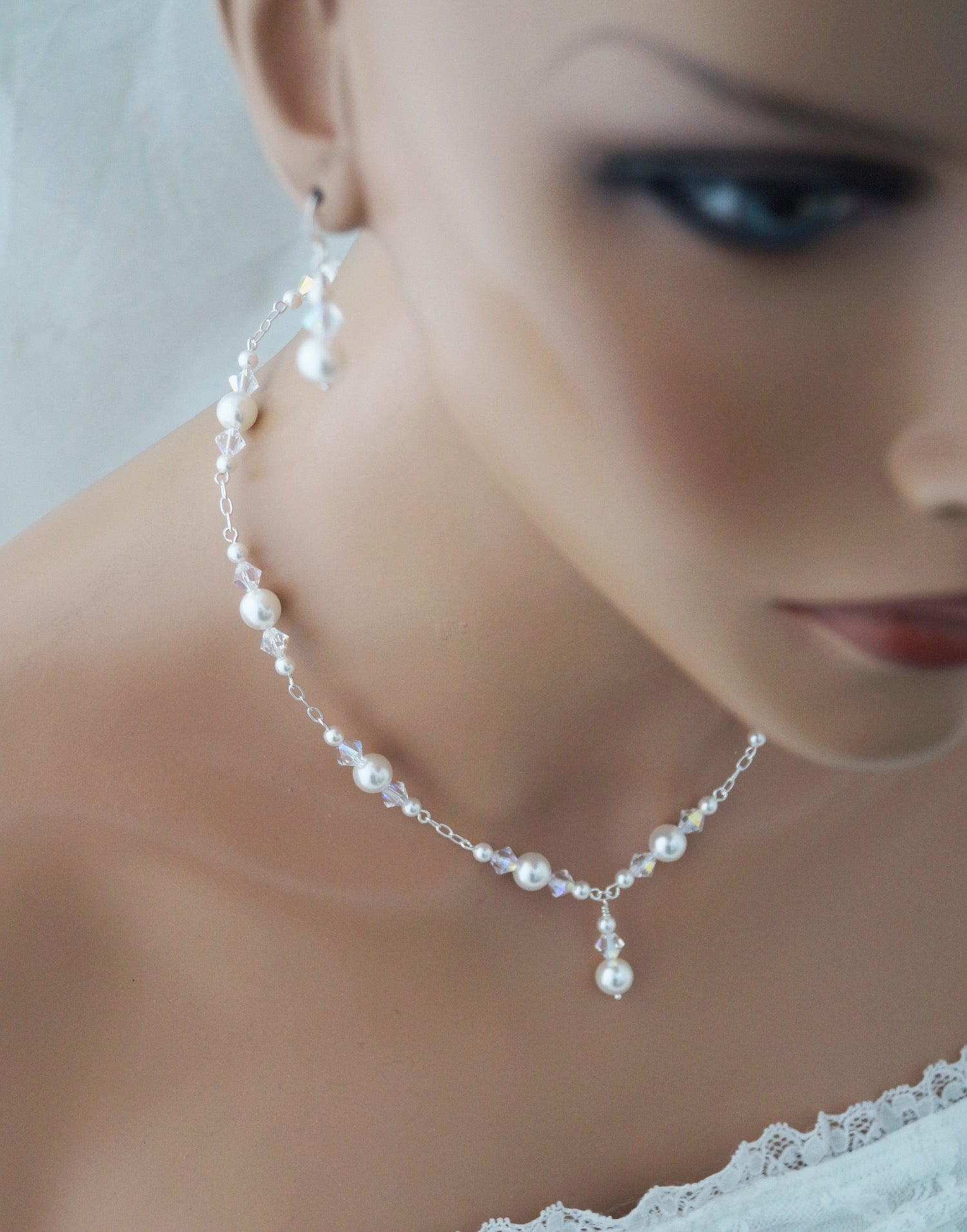 Pearl Wedding Necklace and Earrings Set Wedding Jewelry - Clairesbridal - 7