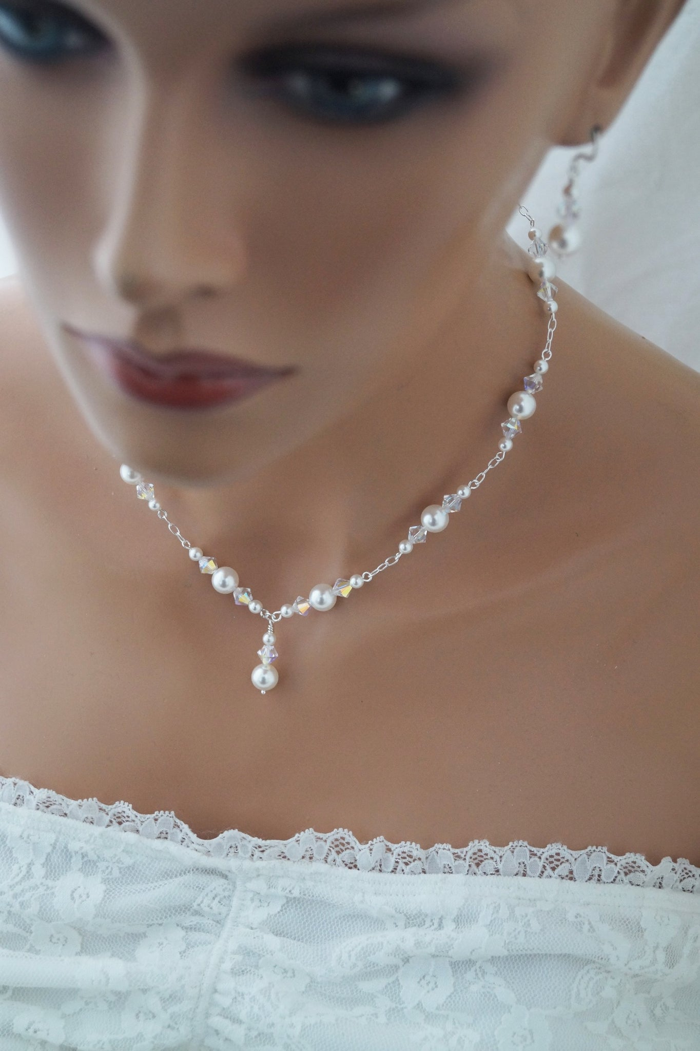 Pearl Wedding Necklace and Earrings Set Wedding Jewelry - Clairesbridal - 8