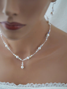 Pearl Wedding Necklace and Earrings Set Wedding Jewelry - Clairesbridal - 9