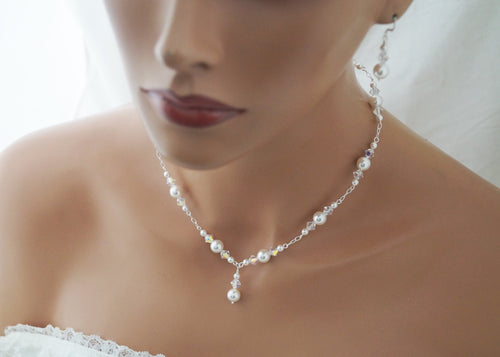Pearl Wedding Necklace and Earrings Set Wedding Jewelry - Clairesbridal - 1