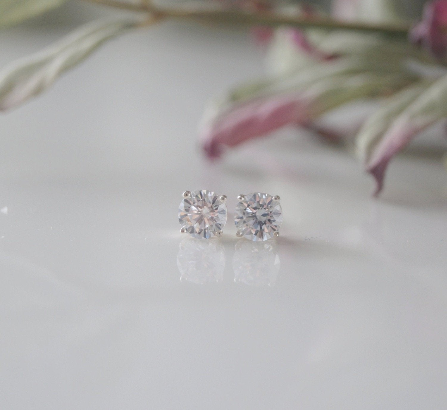 Crystal Cubic Zirconia Stud Earrings Wedding Jewelry - Clairesbridal - 1