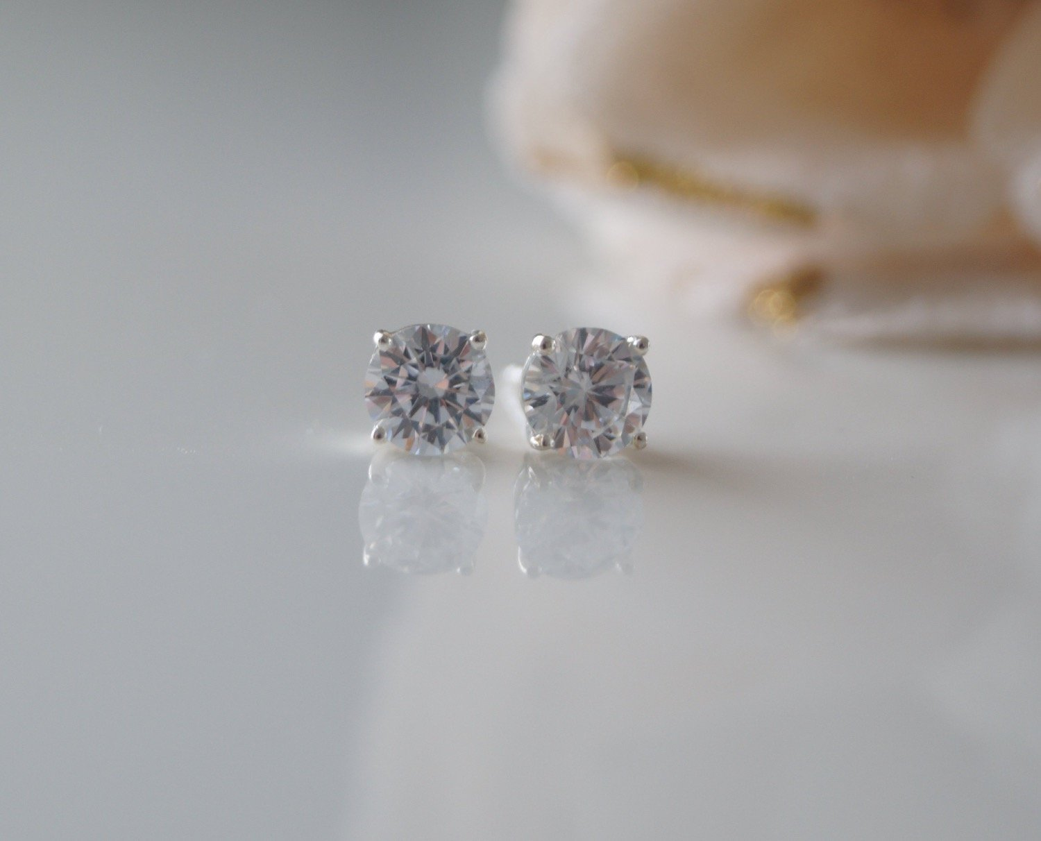 Crystal Cubic Zirconia Stud Earrings Wedding Jewelry - Clairesbridal - 4