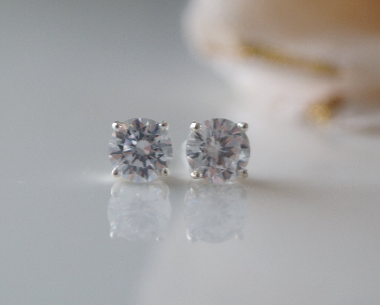 Crystal Cubic Zirconia Stud Earrings Wedding Jewelry - Clairesbridal - 3