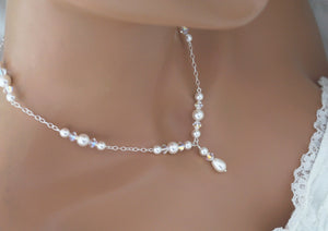 Pearl and Crystal Necklace - Clairesbridal - 4
