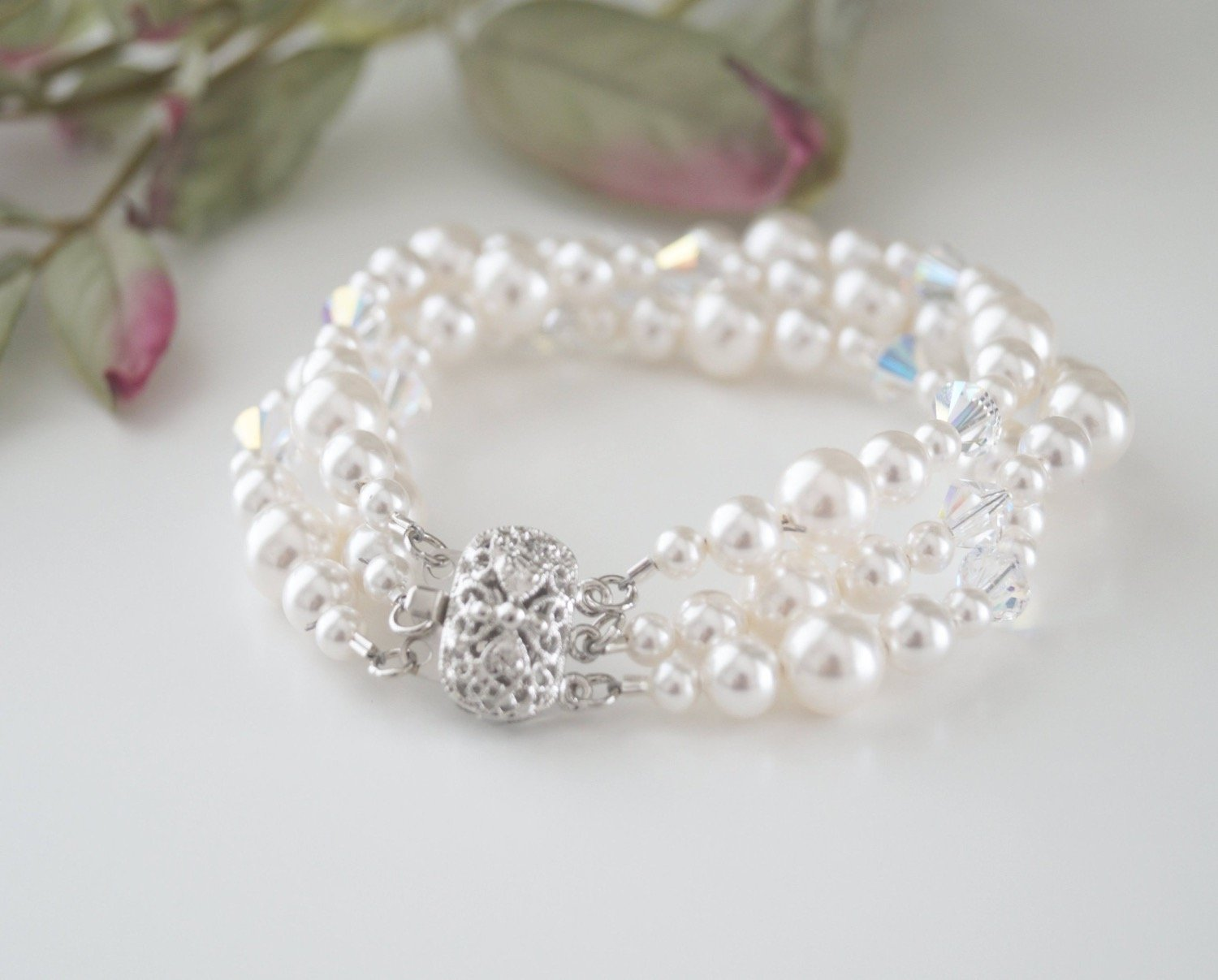 bridal jewelry pearl and crystal bracelet - Clairesbridal - 1