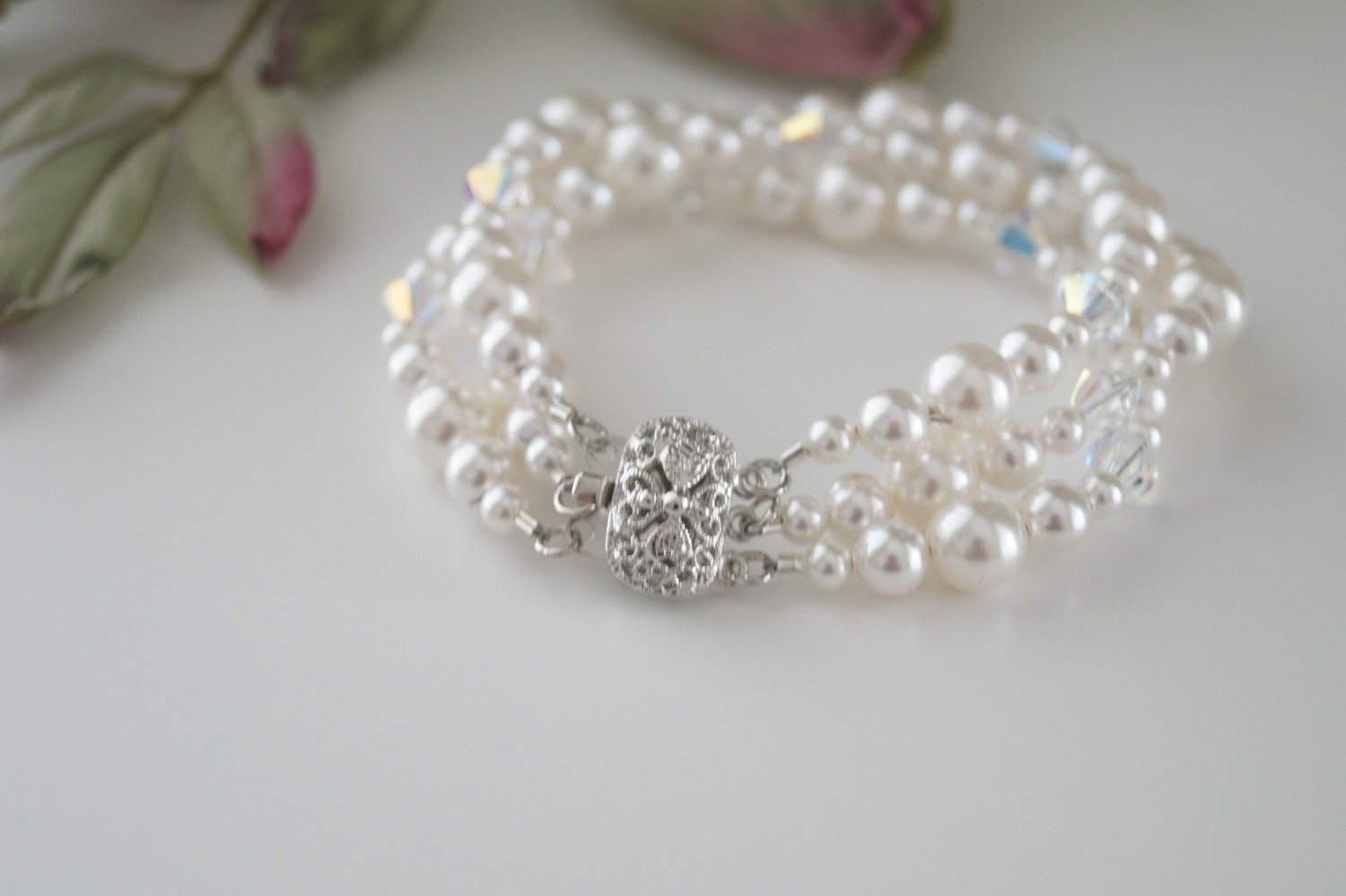 bridal jewelry pearl and crystal bracelet - Clairesbridal - 5