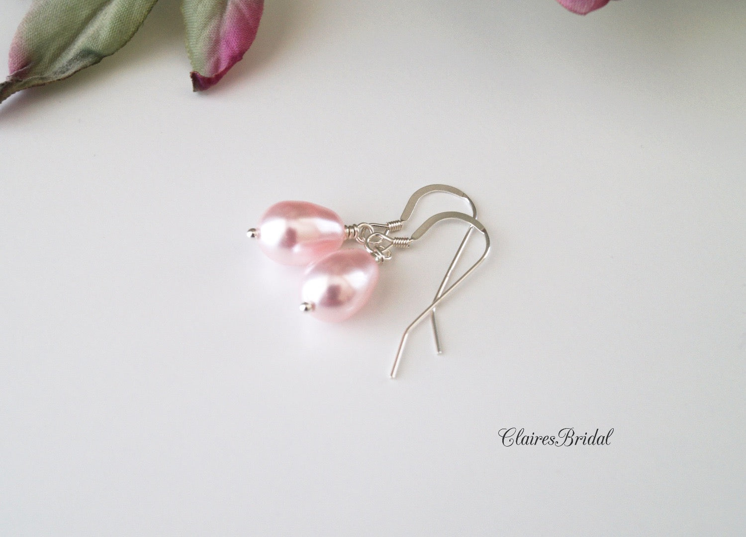 Pink Pearl Drop Earrings, Bridal Earrings, Wedding Jewelry, Swarovski Pearl Earrings - ClairesBridal - 3