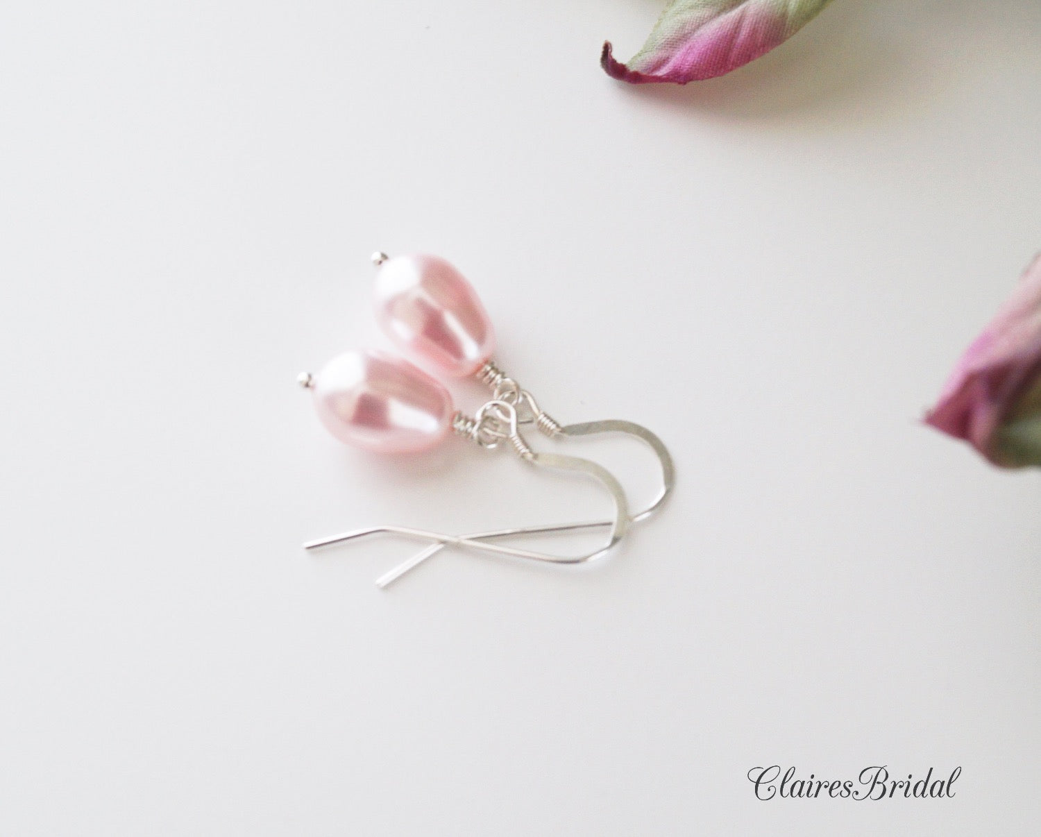 Pink Pearl Drop Earrings, Bridal Earrings, Wedding Jewelry, Swarovski Pearl Earrings - ClairesBridal - 2