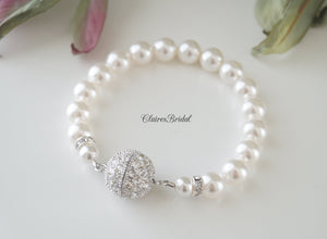 Single Strand Pearl Bracelet Bridal Jewelry - Clairesbridal - 3
