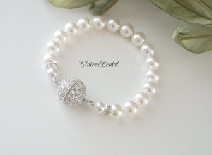 Single Strand Pearl Bracelet Bridal Jewelry - Clairesbridal - 2
