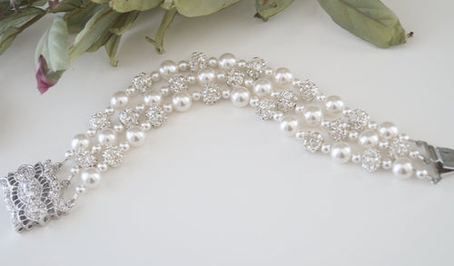 Three strand pearl bracelet wedding jewelry with pearls and crystals - Clairesbridal - 1