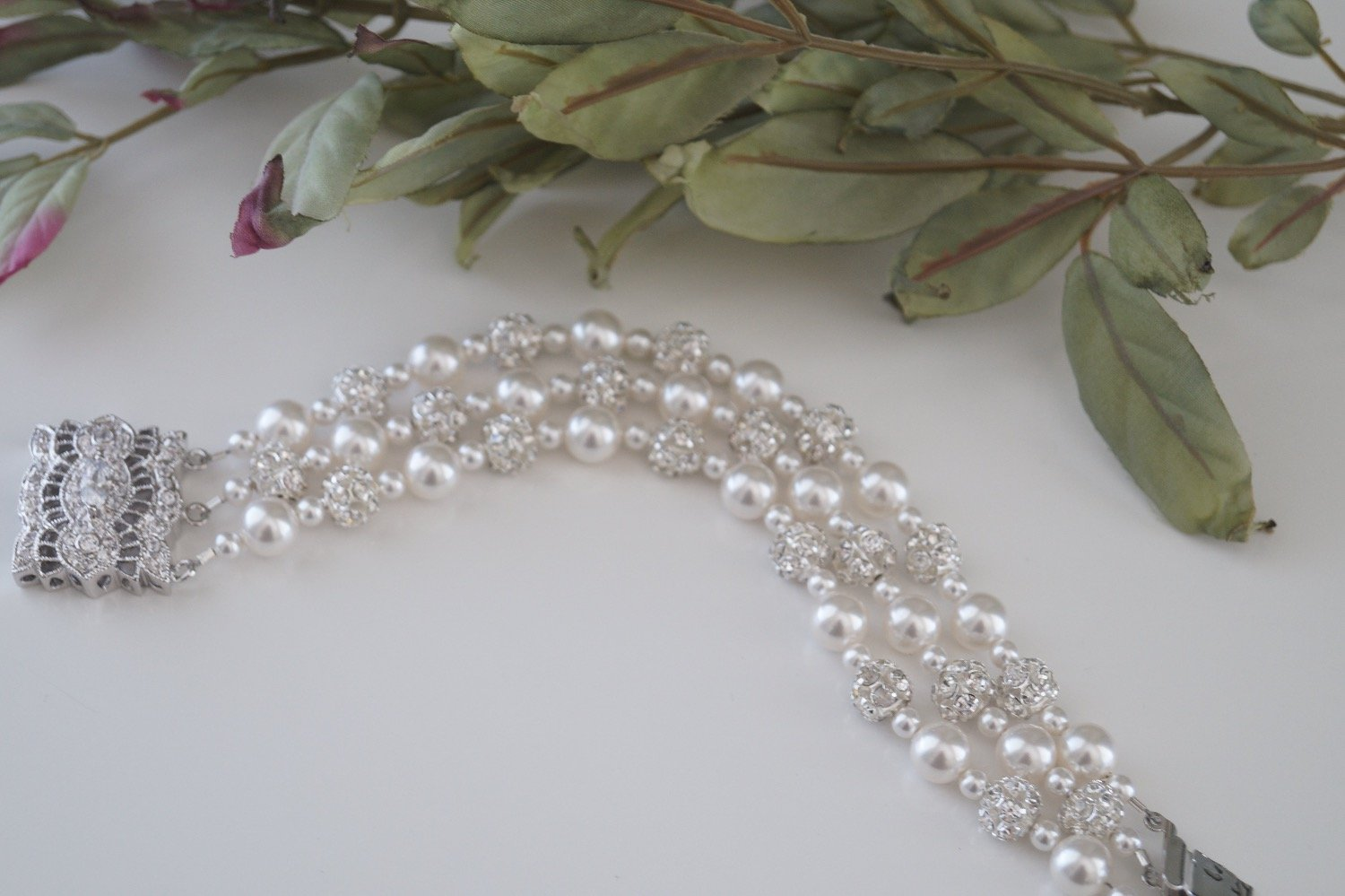 Three strand pearl bracelet wedding jewelry with pearls and crystals - Clairesbridal - 4