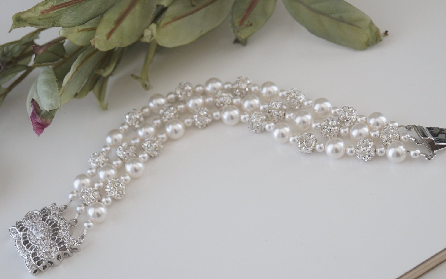 Three strand pearl bracelet wedding jewelry with pearls and crystals - Clairesbridal - 6