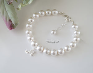 Initial Pearl Bracelet Wedding Gift for Bride - 4