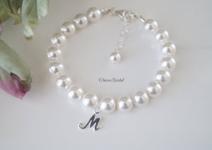 Initial Pearl Bracelet Wedding Gift for Bride - ClairesBridal - 2