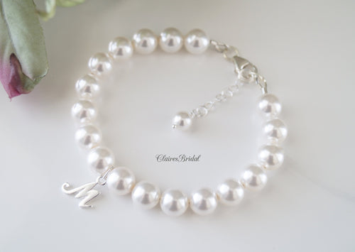 Initial Pearl Bracelet Wedding Gift for Bride - Clairesbridal - 1
