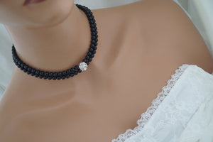 Black pearl choker necklace - Clairesbridal - 4