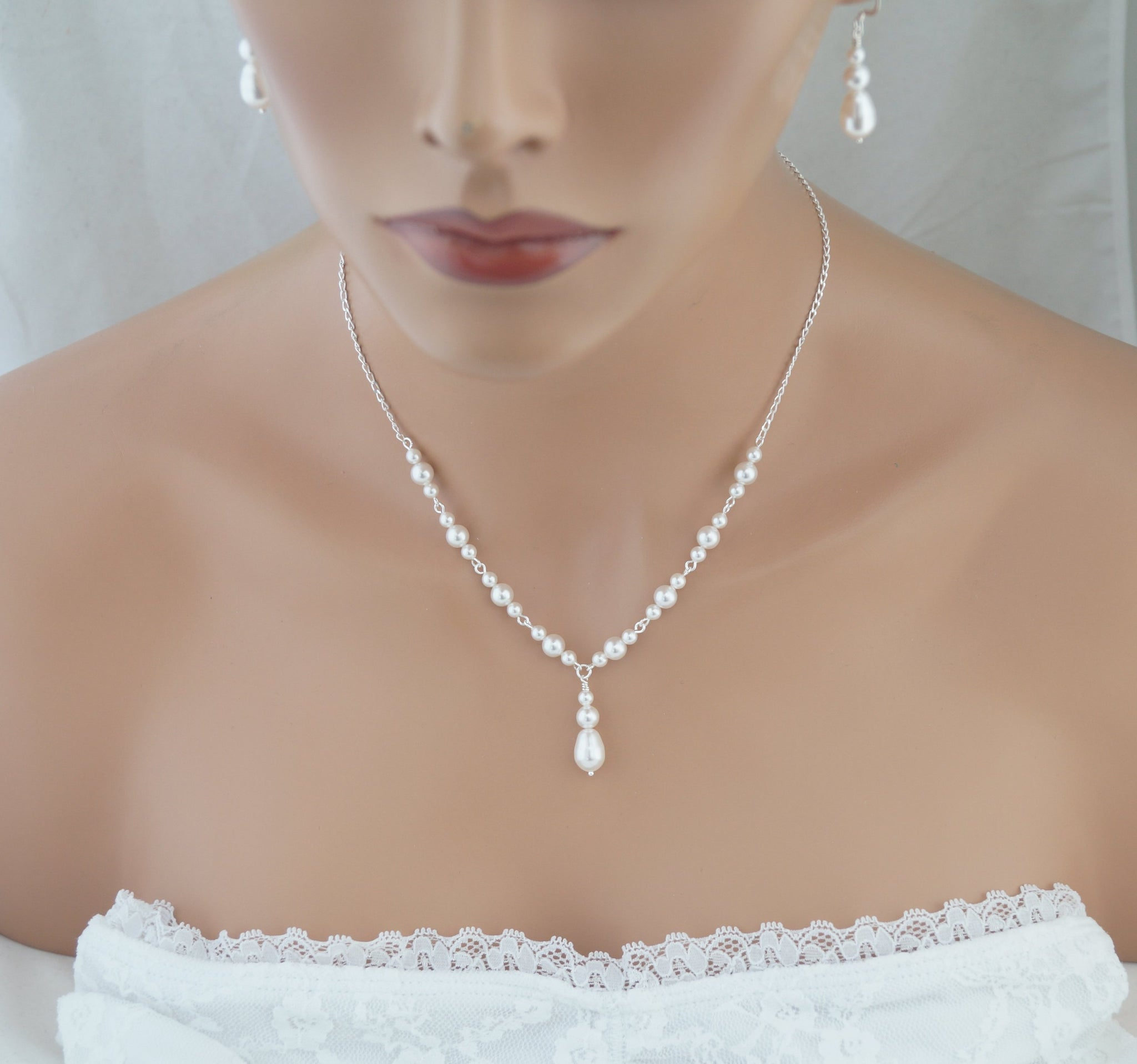 White Pearl Necklace and Earrings Set Wedding Jewelry Set - Clairesbridal - 4
