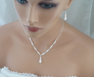 White Pearl Necklace and Earrings Set Wedding Jewelry Set - Clairesbridal - 2