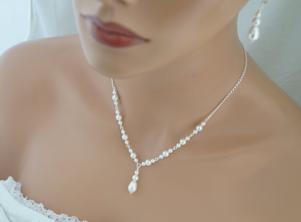 White Pearl Necklace and Earrings Set Wedding Jewelry Set - Clairesbridal - 1