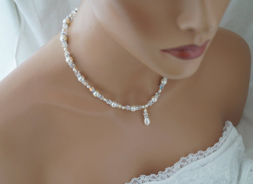 Cream Pearl and Crystal Necklace Wedding Jewelry for Brides - Clairesbridal - 1