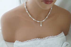 Ivory Pearl and Crystal Necklace Bridal Jewelry for Bride - Clairesbridal - 5