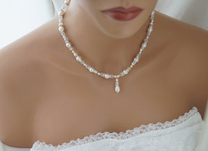 Ivory Pearl and Crystal Necklace Bridal Jewelry for Bride - Clairesbridal - 3