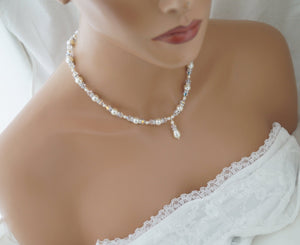 Ivory Pearl and Crystal Necklace Bridal Jewelry for Bride - Clairesbridal - 2