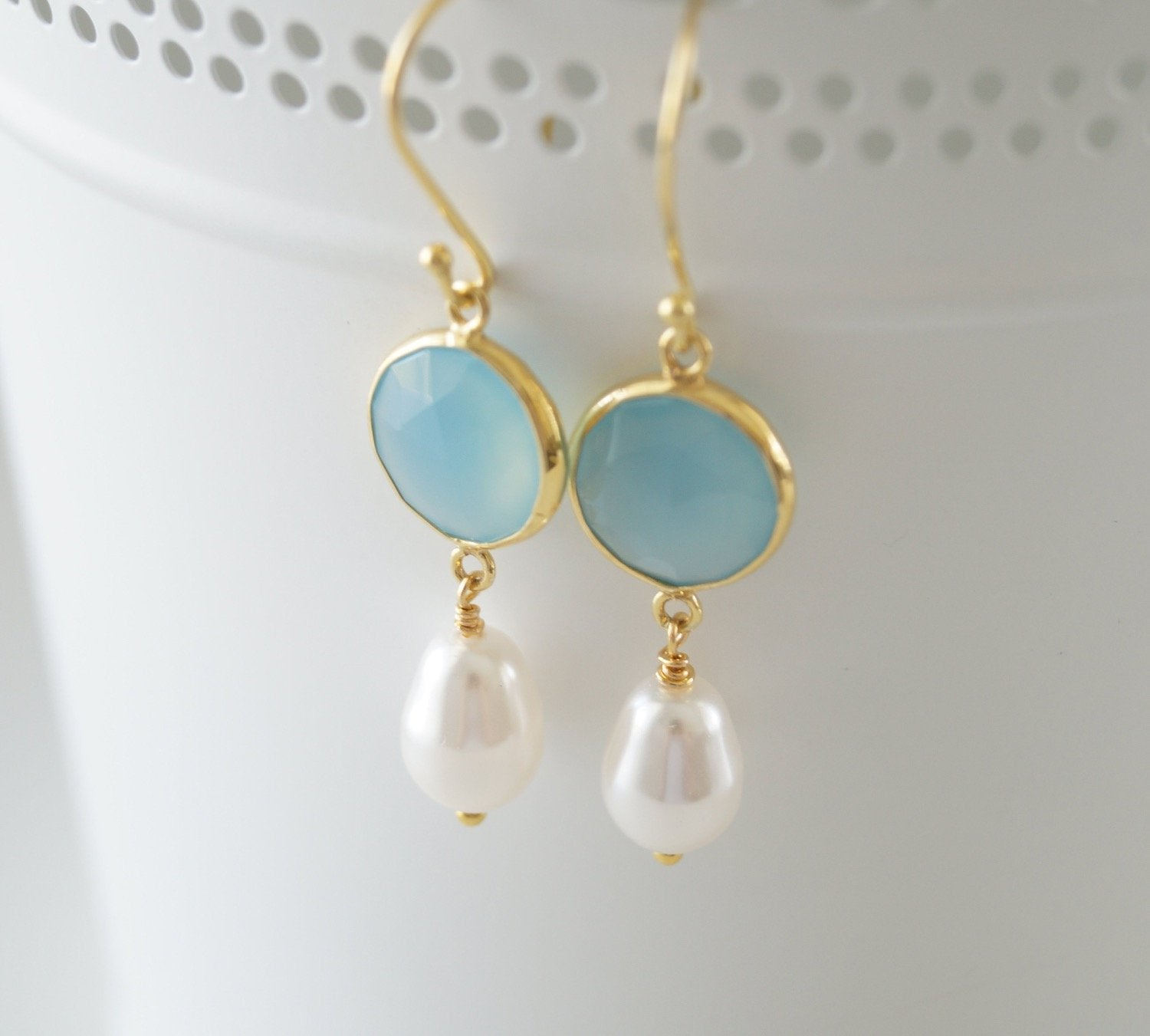 Blue Chalcedony Gemstone and Pearl Earrings - Clairesbridal - 6