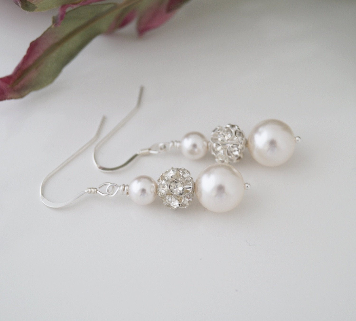 Pearl and Crystal Rhinestone Earrings Wedding Jewelry - Clairesbridal - 1