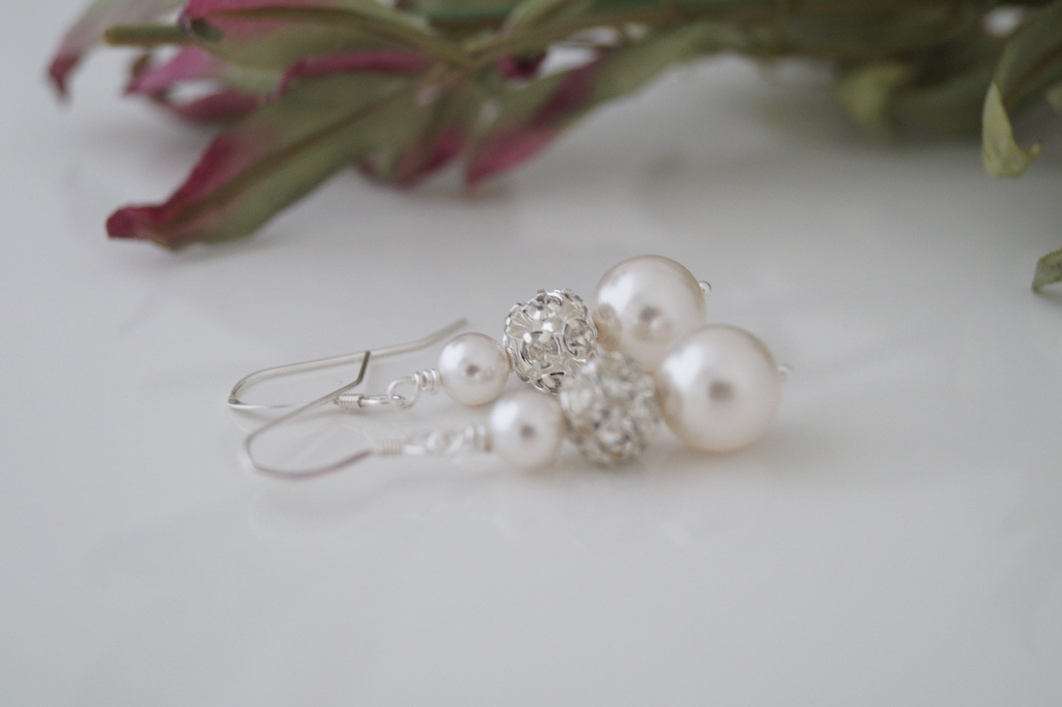 Pearl and Crystal Rhinestone Earrings Wedding Jewelry - Clairesbridal - 4