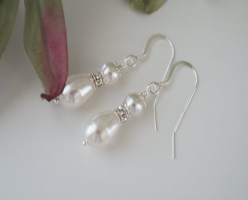 Swarovski Pearl Drop Bridal Earrings - ClairesBridal - 1