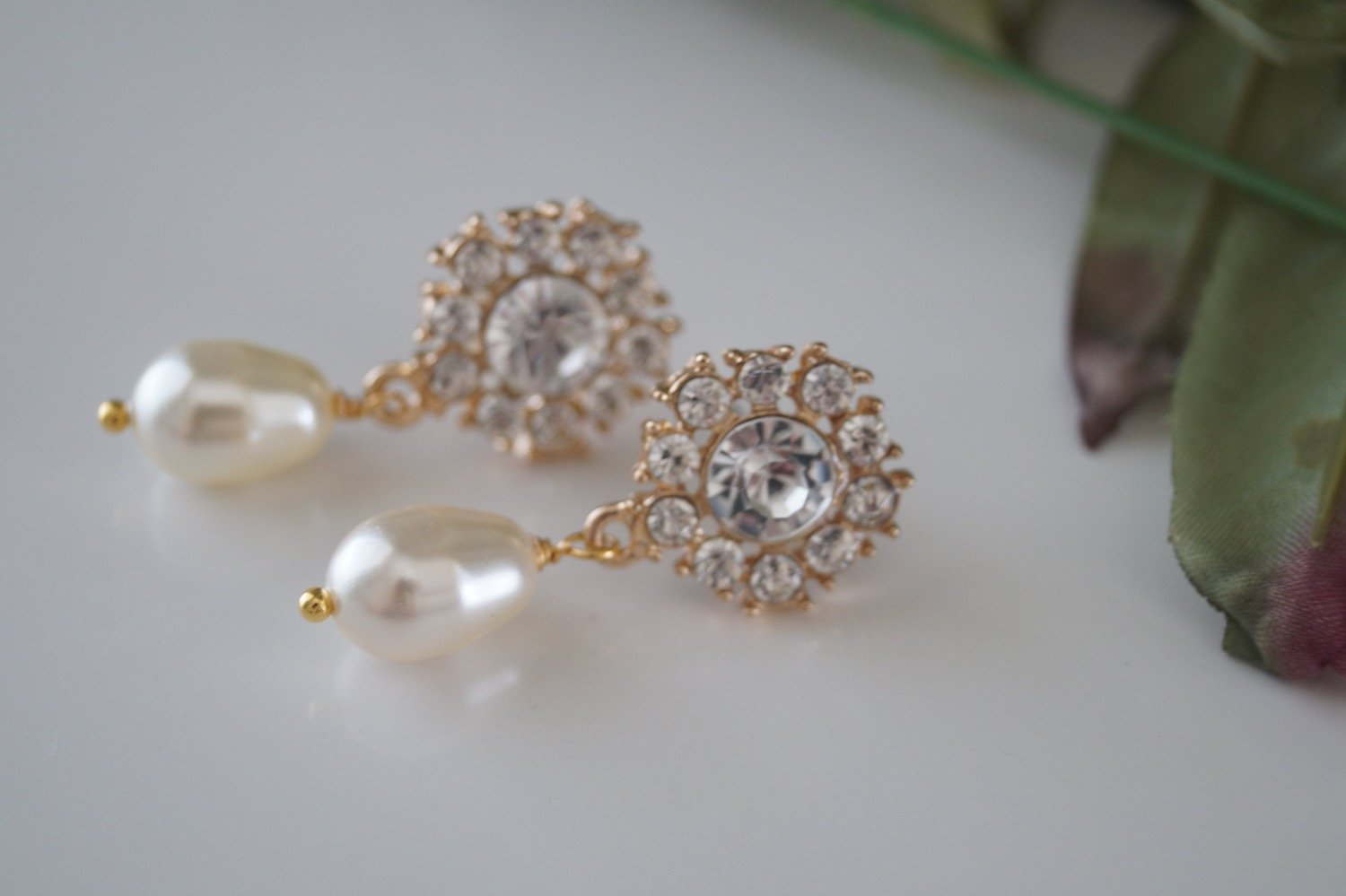 Gold Crystal Bridal Earrings Swarovski Pearl Drop Earrings - Clairesbridal - 3