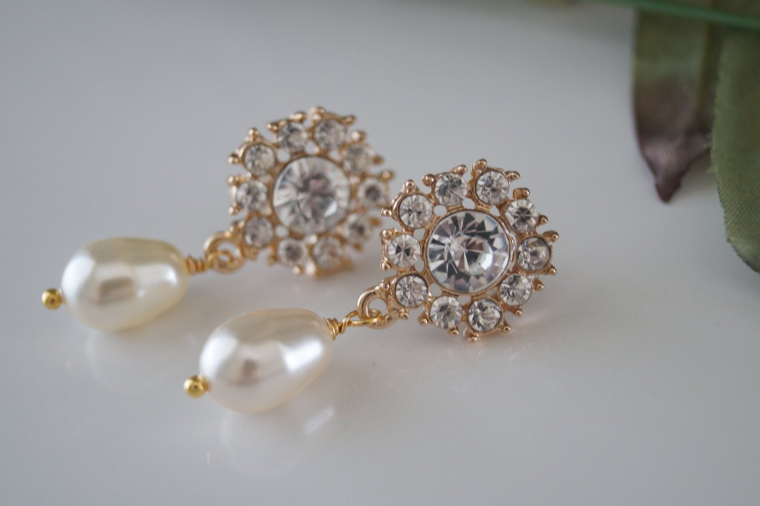 Gold Crystal Bridal Earrings Swarovski Pearl Drop Earrings - Clairesbridal - 4