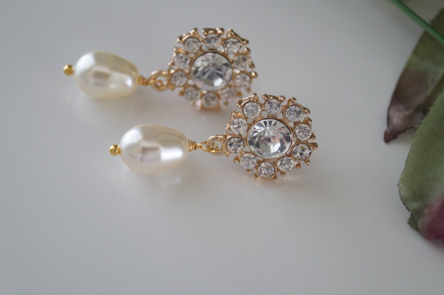 Gold Crystal Bridal Earrings Swarovski Pearl Drop Earrings - Clairesbridal - 5