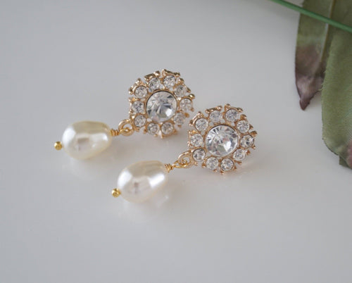 Swarovski Gold Crystal Drop Earrings Wedding Jewelry - Clairesbridal - 1
