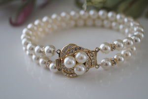 Gold Pearl and Rhinestone Bracelet - Vintage Inspired - Clairesbridal - 3