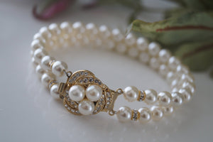 Gold Pearl and Rhinestone Bracelet - Vintage Inspired - Clairesbridal - 2