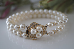 Gold Pearl and Rhinestone Bracelet - Vintage Inspired - Clairesbridal - 4